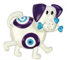 "Bobblehead Magnet ""Dog"", purple-white"