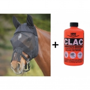 Set CLAC Insect Repellent and Fly Mask Premium with Ear Protection and Fringe