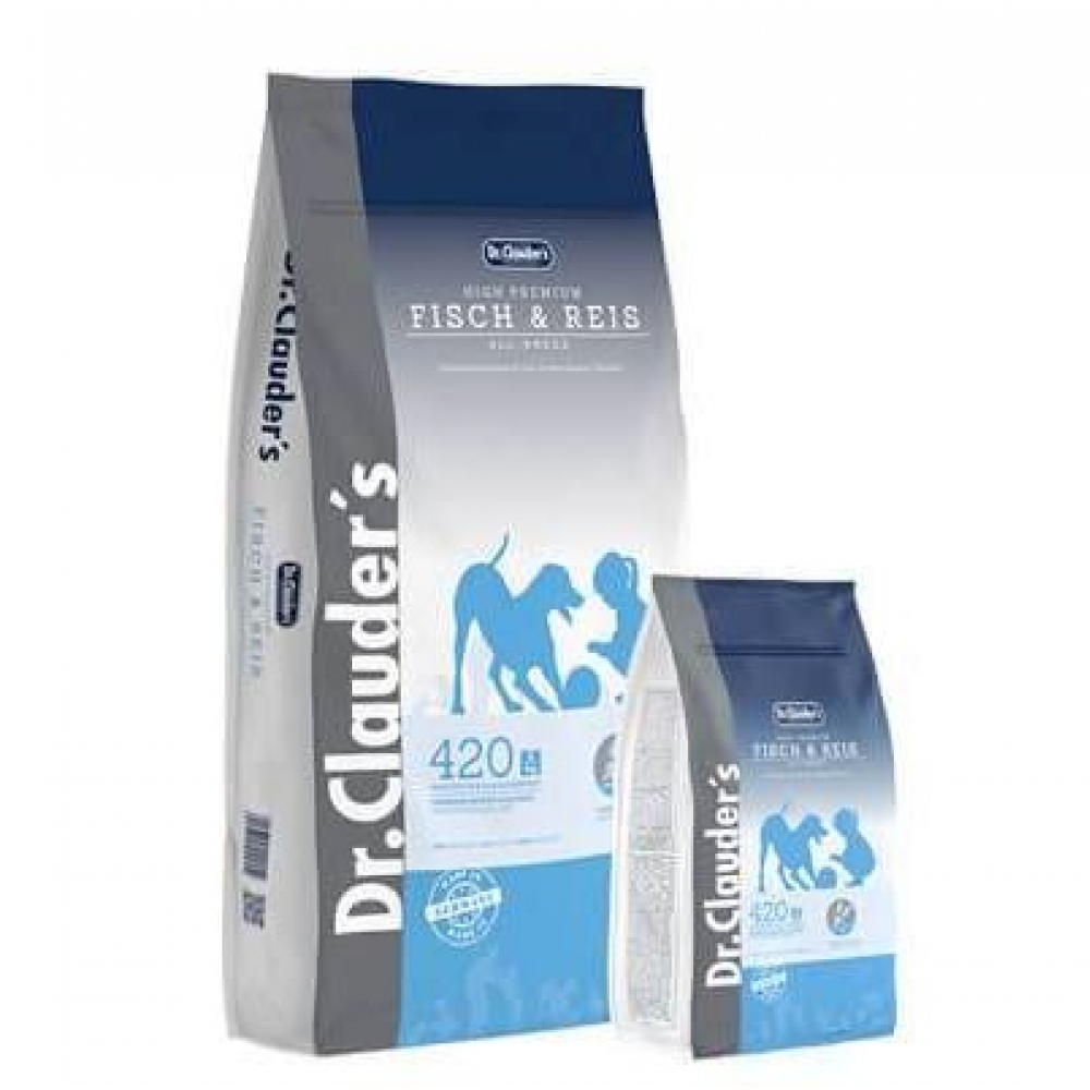 DR. CLAUDER'S SENSITIVE FISH & RICE Complete feed for adult dogs, 15 kg