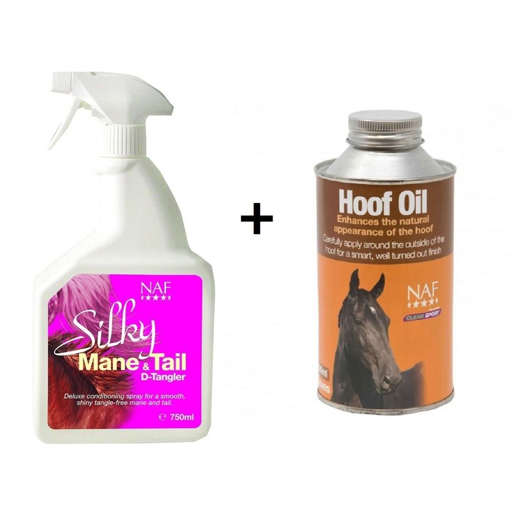 NAF Hoof Oil, 500 ml and NAF Silky Mane & Tail D-Tangler, 750 ml