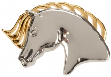 """Brooch """"Horse Head"""", gold and silver"""