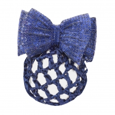 Knotted hair net with ribbon and clasp