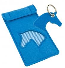 Felt Mobile Bag with Keyring, blue